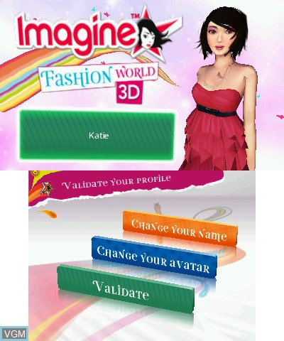 Title screen of the game Imagine - Fashion World 3D on Nintendo 3DS