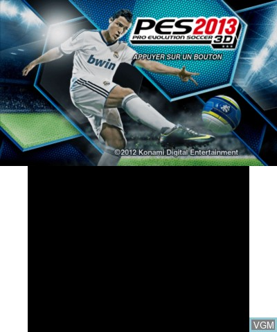 Title screen of the game Pro Evolution Soccer 2013 3D on Nintendo 3DS