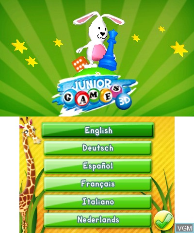 Title screen of the game Junior Games 3D on Nintendo 3DS