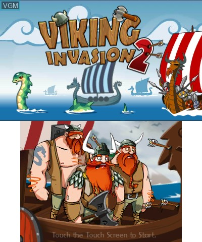 Title screen of the game Viking Invasion 2 - Tower Defense on Nintendo 3DS