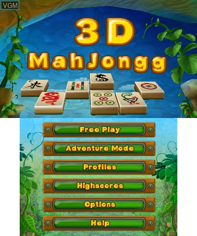 Title screen of the game 3D MahJongg on Nintendo 3DS