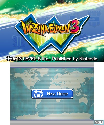 Title screen of the game Inazuma Eleven 3 - Lightning Bolt on Nintendo 3DS