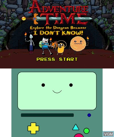 Title screen of the game Adventure Time - Explore the Dungeon Because I DON'T KNOW! on Nintendo 3DS