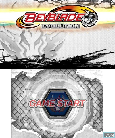 Title screen of the game Beyblade - Evolution on Nintendo 3DS