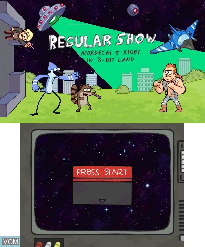 Title screen of the game Regular Show - Mordecai & Rigby in 8-Bit Land on Nintendo 3DS