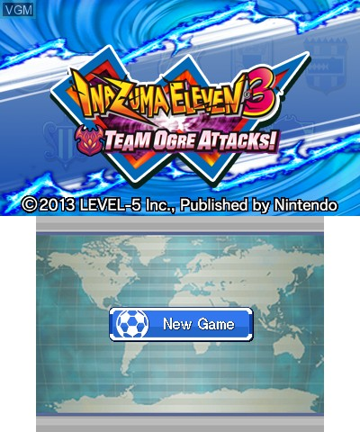 Title screen of the game Inazuma Eleven 3 - Team Ogre Attacks! on Nintendo 3DS