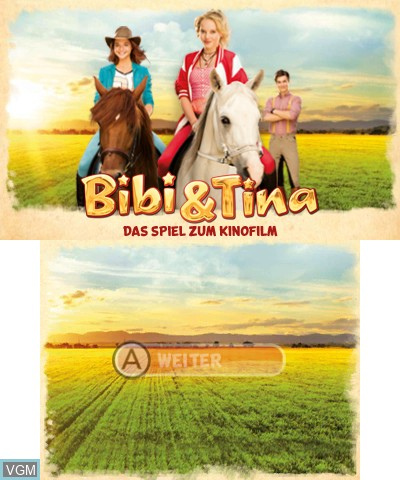 Title screen of the game Bibi & Tina - Das Spiel zum Film on Nintendo 3DS