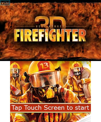 Title screen of the game Real Heroes - Firefighter 3D on Nintendo 3DS