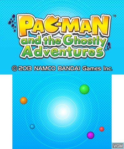 Title screen of the game Pac-Man and the Ghostly Adventures on Nintendo 3DS