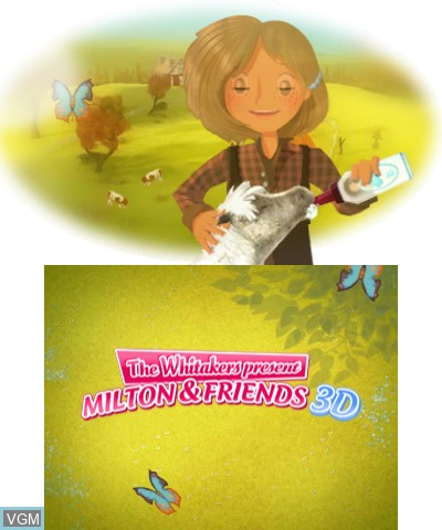 Title screen of the game Whitakers Present, The - Milton & Friends 3D on Nintendo 3DS