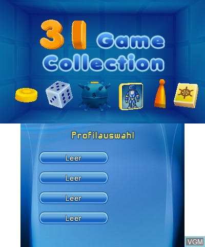 Title screen of the game 3D Game Collection on Nintendo 3DS