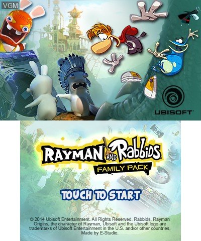 Title screen of the game Rayman and Rabbids Family Pack on Nintendo 3DS