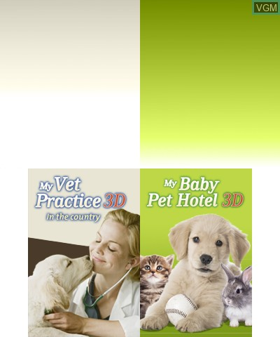 Title screen of the game 2 in 1 - My Vet Practice 3D and My Baby Pet Hotel 3D on Nintendo 3DS