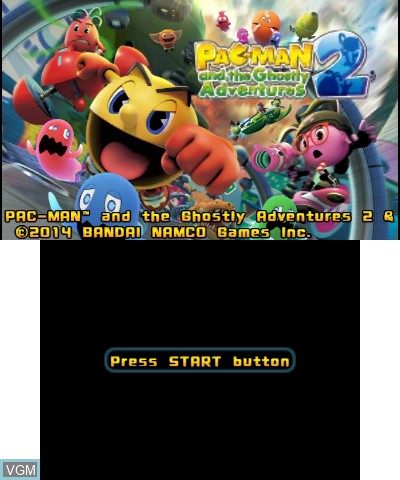 Title screen of the game Pac-Man and the Ghostly Adventures 2 on Nintendo 3DS