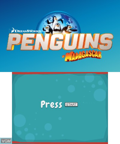Title screen of the game Penguins of Madagascar on Nintendo 3DS