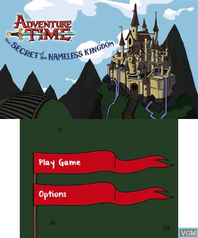 Title screen of the game Adventure Time - The Secret of the Nameless Kingdom on Nintendo 3DS
