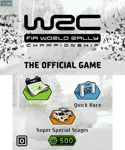 Title screen of the game WRC - FIA World Rally Championship The Official Game on Nintendo 3DS