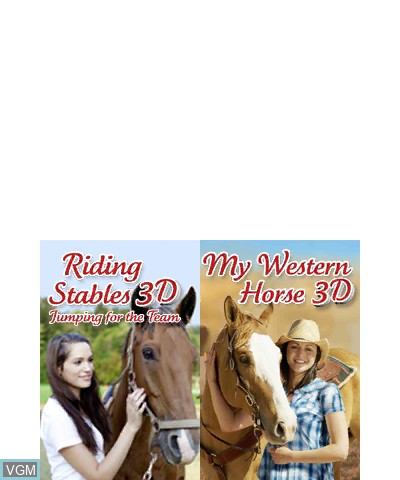 Title screen of the game 2 in 1- Horses 3D Vol.3 - My Riding Stables 3D - Jumping for the Team and My Western Horse 3D on Nintendo 3DS