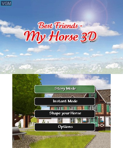 Title screen of the game Best Friends My Horse 3D on Nintendo 3DS