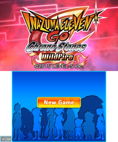 Title screen of the game Inazuma Eleven GO - Chrono Stones - Wildfire on Nintendo 3DS