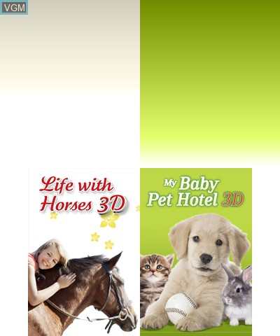 Title screen of the game 2 in 1 - Life with Horses 3D + My Baby Pet Hotel 3D on Nintendo 3DS