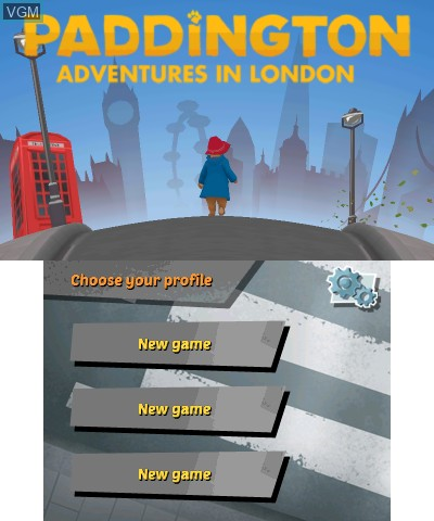 Title screen of the game Paddington Adventures In London on Nintendo 3DS