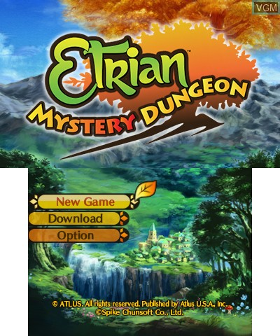 Title screen of the game Etrian Mystery Dungeon on Nintendo 3DS