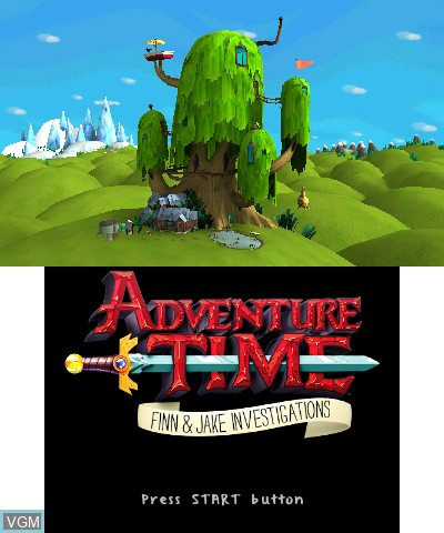 Title screen of the game Adventure Time - Finn & Jake Investigations on Nintendo 3DS