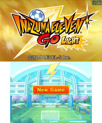Title screen of the game Inazuma Eleven Go - Light on Nintendo 3DS