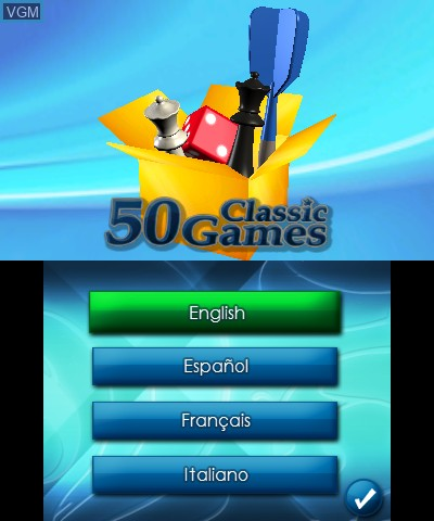 Title screen of the game 50 Classic Games 3D on Nintendo 3DS