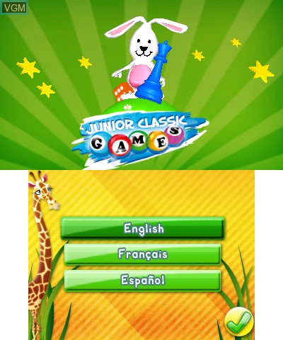 Title screen of the game Junior Classic Games 3D on Nintendo 3DS