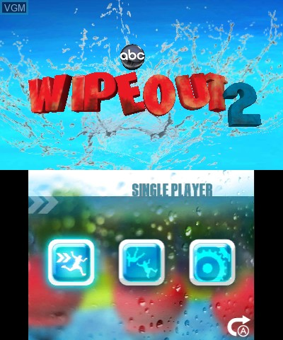 Title screen of the game Wipeout 2 on Nintendo 3DS