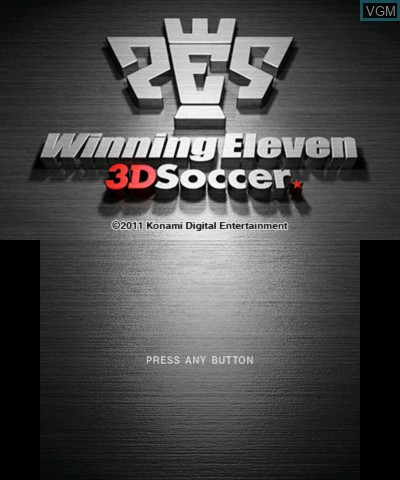 Title screen of the game Winning Eleven 3D Soccer on Nintendo 3DS
