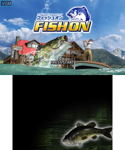 Title screen of the game Real 3D Bass Fishing - Fish On on Nintendo 3DS
