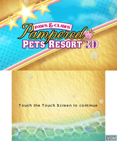 Title screen of the game Paws & Claws - Pampered Pets Resort 3D on Nintendo 3DS