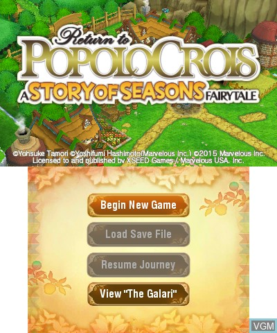 Title screen of the game Return to PopoloCrois - A Story of Seasons Fairytale on Nintendo 3DS