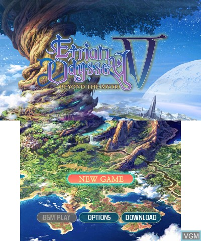 Title screen of the game Etrian Odyssey V - Beyond the Myth on Nintendo 3DS
