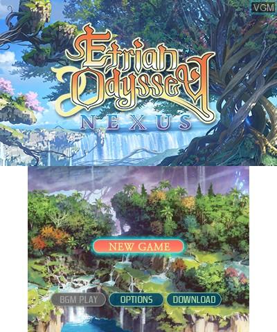 Title screen of the game Etrian Odyssey Nexus on Nintendo 3DS