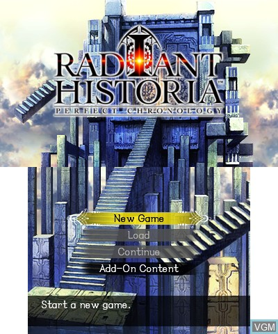 Title screen of the game Radiant Historia - Perfect Chronology on Nintendo 3DS