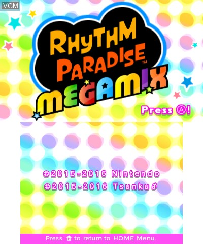 Title screen of the game Rhythm Paradise Megamix on Nintendo 3DS