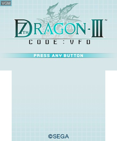 Title screen of the game 7th Dragon III Code - VFD on Nintendo 3DS