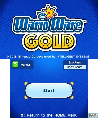 Title screen of the game Warioware Gold on Nintendo 3DS
