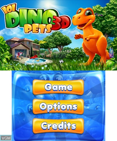 Title screen of the game 101 DinoPets 3D on Nintendo 3DS