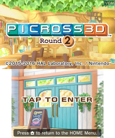 Title screen of the game Picross 3D - Round 2 on Nintendo 3DS