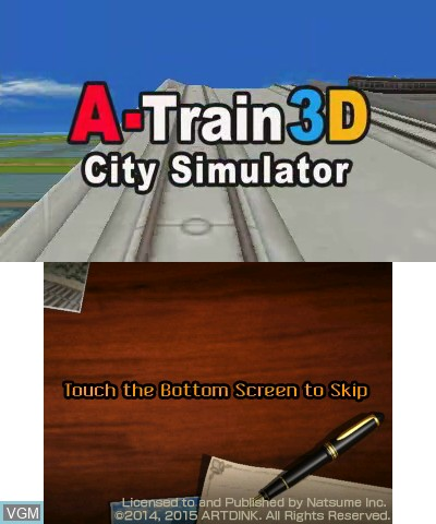 Title screen of the game A-Train 3D - City Simulator on Nintendo 3DS