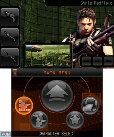Menu screen of the game Resident Evil - The Mercenaries 3D on Nintendo 3DS