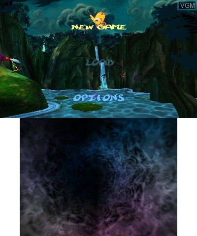 Menu screen of the game Rayman 3D on Nintendo 3DS