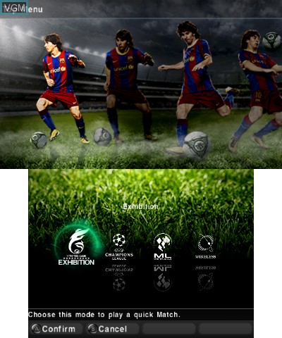 Menu screen of the game Pro Evolution Soccer 2011 3D on Nintendo 3DS