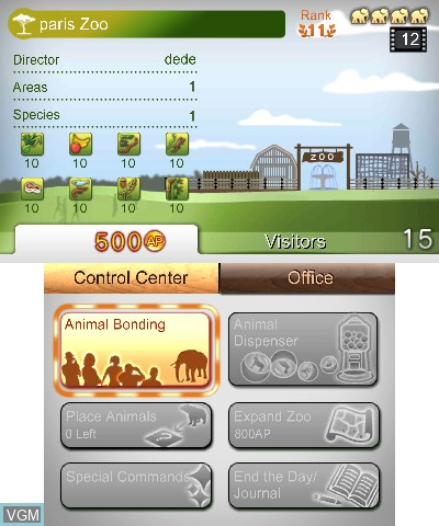 Menu screen of the game Zoo Resort 3D on Nintendo 3DS