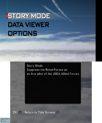 Menu screen of the game Ace Combat - Assault Horizon Legacy on Nintendo 3DS